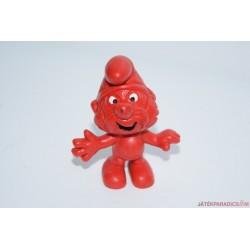 Piros festésű különleges Hupikék törpikék gumifigura