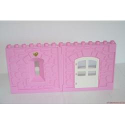 Lego Duplo rózsaszín várfal elem nyitható ajtóval
