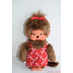 Sekiguchi Monchhichi Moncsicsi: piros ruhás lány majom plüss