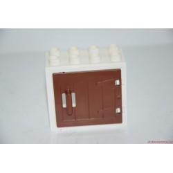 Lego Duplo fehér ablak elem: barna ajtóval