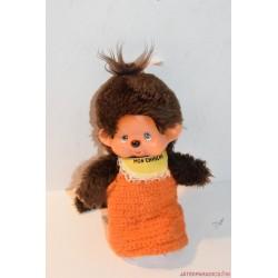 Vintage Monchhichi moncsicsi plüss kötött ruhában