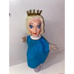 Vintage királynő kézzel festett gumifejű báb