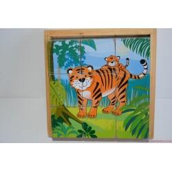 Szafari állatai fa képkirakó kockajáték puzzle