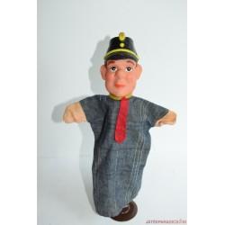 Vintage vasutas masiniszta kézzel festett gumifejű báb