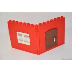 Lego Duplo piros fal ablakkal és ajtóval