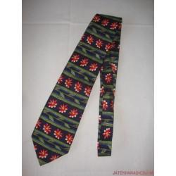 Piros virág mintás sötétkék nyakkendő