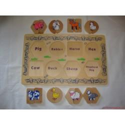 Fa párosító állatos formaberakó játék